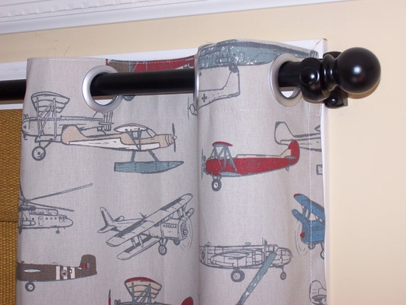 BLACKOUT LINED, Airplanes, Helicopters, Curtains With Grommets, 100% ...