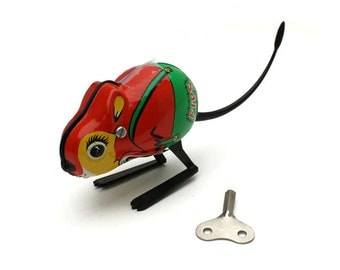 Vintage Tin Litho Toy Mouse Tin Toy wind up mouse collectors toy childhood nostalgia Fips
