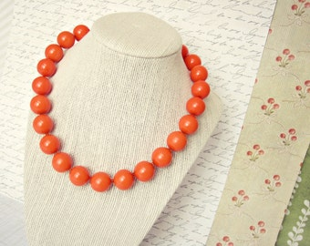 Pumpkin Orange Beaded Necklace - Orange Clay Jewelry, Bright Orange, Round Bead, 16 in., 20 in., READY TO SHIP
