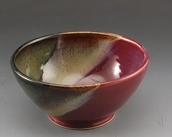 Handmade  Pottery Stoneware Bowl Plum Red Brown