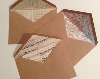 Set of 10 Lined Map Envelopes. Lined Vintage Dictionary Envelopes. Music Lined Kraft Paper.