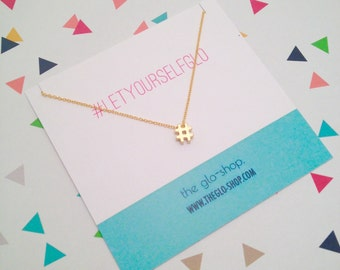 Tiny Hashtag Charm Necklace
