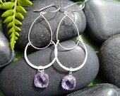 Joyful Awareness: Silver Tiered Dangles with Lavender Glass Bead Accent