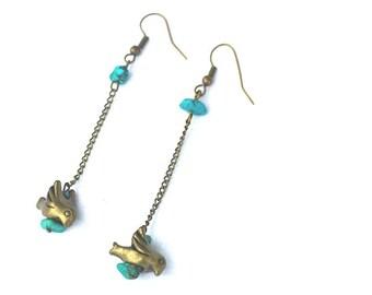 bird earrings / turquoise earrings / long earrings / bronze earrings / dangle earrings / genuine turquoise earrings