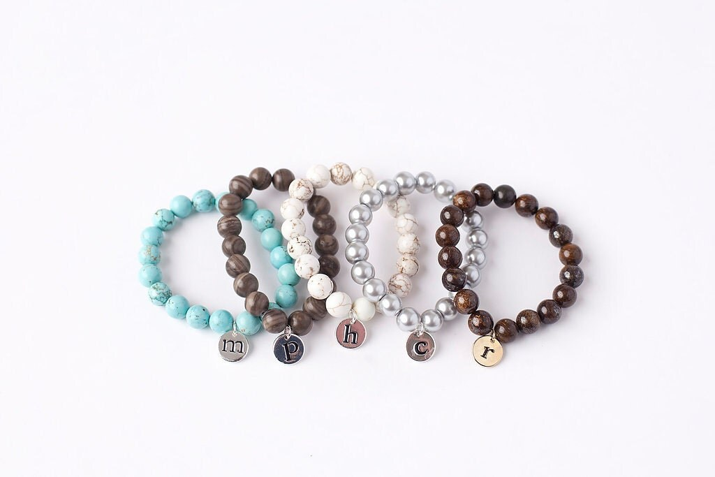 initial charm bracelet with silver or gold initial