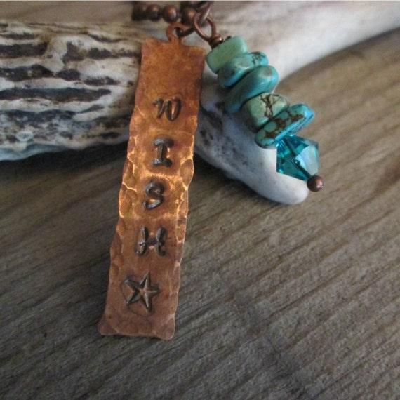 Metal Necklace, Stamped Necklace, Stamped Metal Necklace, Copper Necklace, Make a Wish Necklace, Necklace