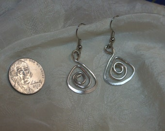 Spiral, triangle, solid Sterling Silver Earrings
