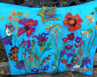 Felted throw pillow in teal, multicolor flower design/ felted pillow/ made to order