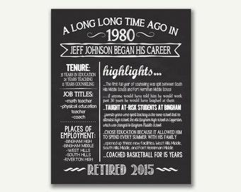 Chalkboard - Retirement Poster - Digital File - Personalized - 16x20 - 8x10