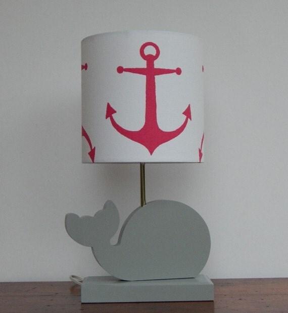 Whale Lamp Base Handmade Wooden Animal Desk or Table Lamp