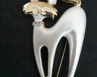 Vintage Cat Rhinestone Collar Pin, Brooch
