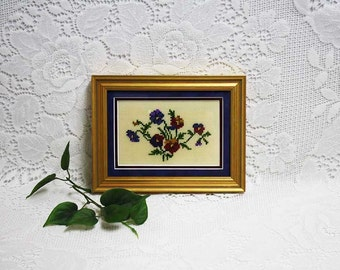 Pansies Pictures, Framed Floral Pictures, Pansies Art, Small Framed Florals, Gold Framed Florals, Framed Needlepoint, Framed Pansies Picture