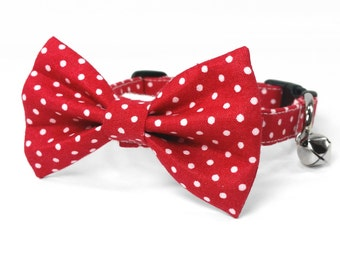 Red and white polka dots - cat and dog bow tie collar set, red dog collar, red cat collar bow tie, red bow tie collar set