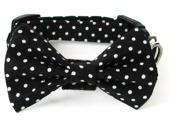 Black and white polka dot dog bow tie collar set & cat bow tie collar set - adjustable with bell (optional)