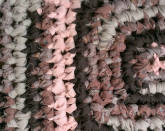 Crochet Rag Rug Rectangle Pink & Brown