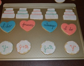 1 dozen Bridal Shower or Wedding Cookies - - 1 dozen sugar cookies decorated