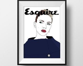 Scarlett Johansson Esquire Magazine Cover Graphic Illustration A4 - Art Print