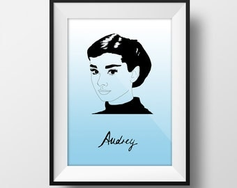 Audrey Poster - Audrey Hepburn - Graphic Illustration 8x10 - Art Print