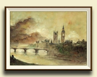PRINT-London thames river parliament architecture cityscape- london wall art print from original watercolor - Art Print by Juan Bosco
