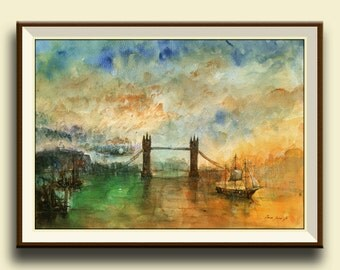 PRINT-London city -thames river Tower Bridge -architecture london wall art print from original watercolor - Art Print by Juan Bosco