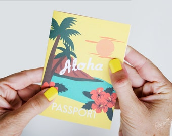 Hawaii Passport Invitation, Destination Wedding Passport, Luau Birthday Party, Hawaiian, Paradise, Baby Shower, Tropical Passport Invitation