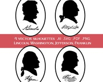Vector Silhouettes of Lincoln, Washington, Jefferson, and Franklin with signatures