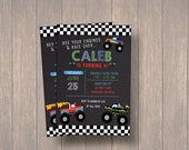 Monster Truck Birthday Invitation, Chalkboard Monster Truck Invitation, Digital File BoY Birthday Invitation
