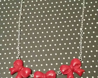 Red Bow Statement Necklace