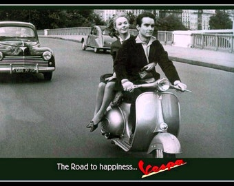 Vespa Scooter Advert 1950s,   Print