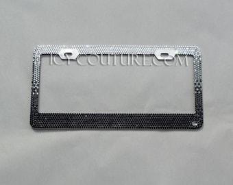BLACK OMBRE  Swarovski Crystal License Plate Frame