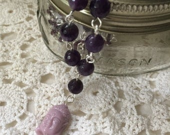Intuitive Provoking and Creative Enhancing Purple Amethyst and Beaded Buddha Necklace 30""