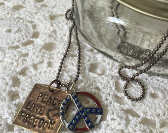 Merica Equals Peace Love and Freedom 35 Inch Necklace