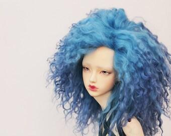 """BJD mohair wig - Azure Blue - 9/10"""""""
