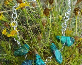 Rough Turquoise Stone Necklace, Silver Chain