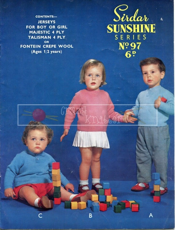 Baby Jerseys 4-ply 1-2 years Sirdar Sunshine Series 97 Vintage Knitting Pattern PDF instant download