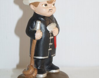 "California Pottery Handpainted Fireman NPFD 7"" Figurine"