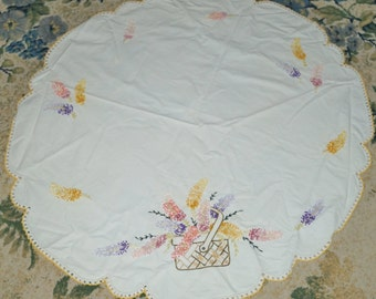 "Vintage 35x34"" Round Scalloped Posy Flower Basket Doily Needlepoint Crochet Edge"