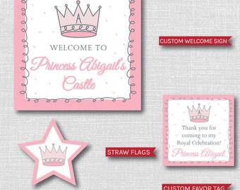 Pink Princess Birthday Printable Party Package - Pink Princess Birthday Party - DIGITAL DESIGN