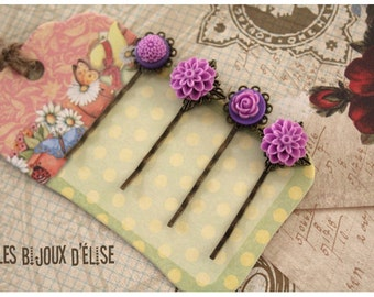 4 pcs Antique Bronze Hair Pins with Purple Flower Cabochon - Gift (HP3)