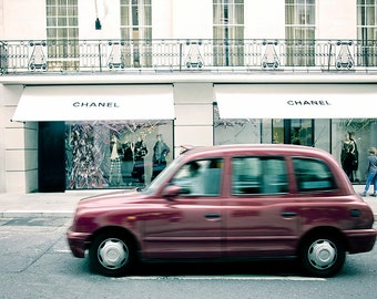 Chanel print, London photography,London print, red taxi cab, chanel, london taxi, designer, female present