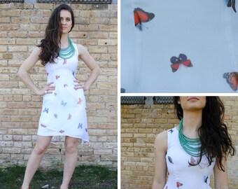 Sheer White Dress - Butterfly Print Dress White Butterfly Dress Sheer Butterfly Dress White Summer Dress Sheer Summer Dress Sheer Print