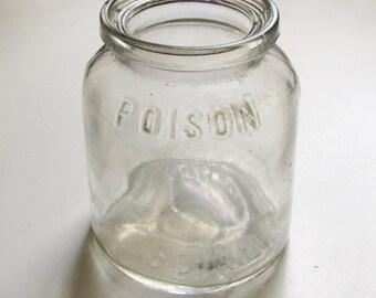 Poison Bottle - Bowker's Pyrox - clear glass