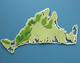 Cut Paper Topography Map of Martha's Vineyard (Original 8x10)