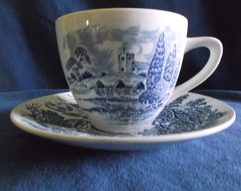 Vintage Enoch Wedgewood '' Countryside'' China Tea Cup and Saucer