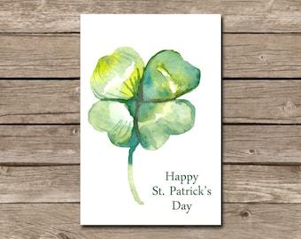 Watercolor Shamrock St. Patrick's Day card - Instant DIGITAL DOWNLOAD