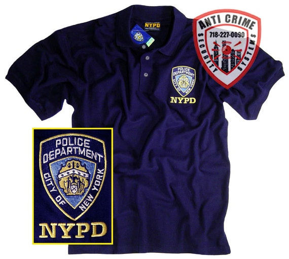Nypd shirt polo t shirt with embroidered logo officially for Embroidered police polo shirts