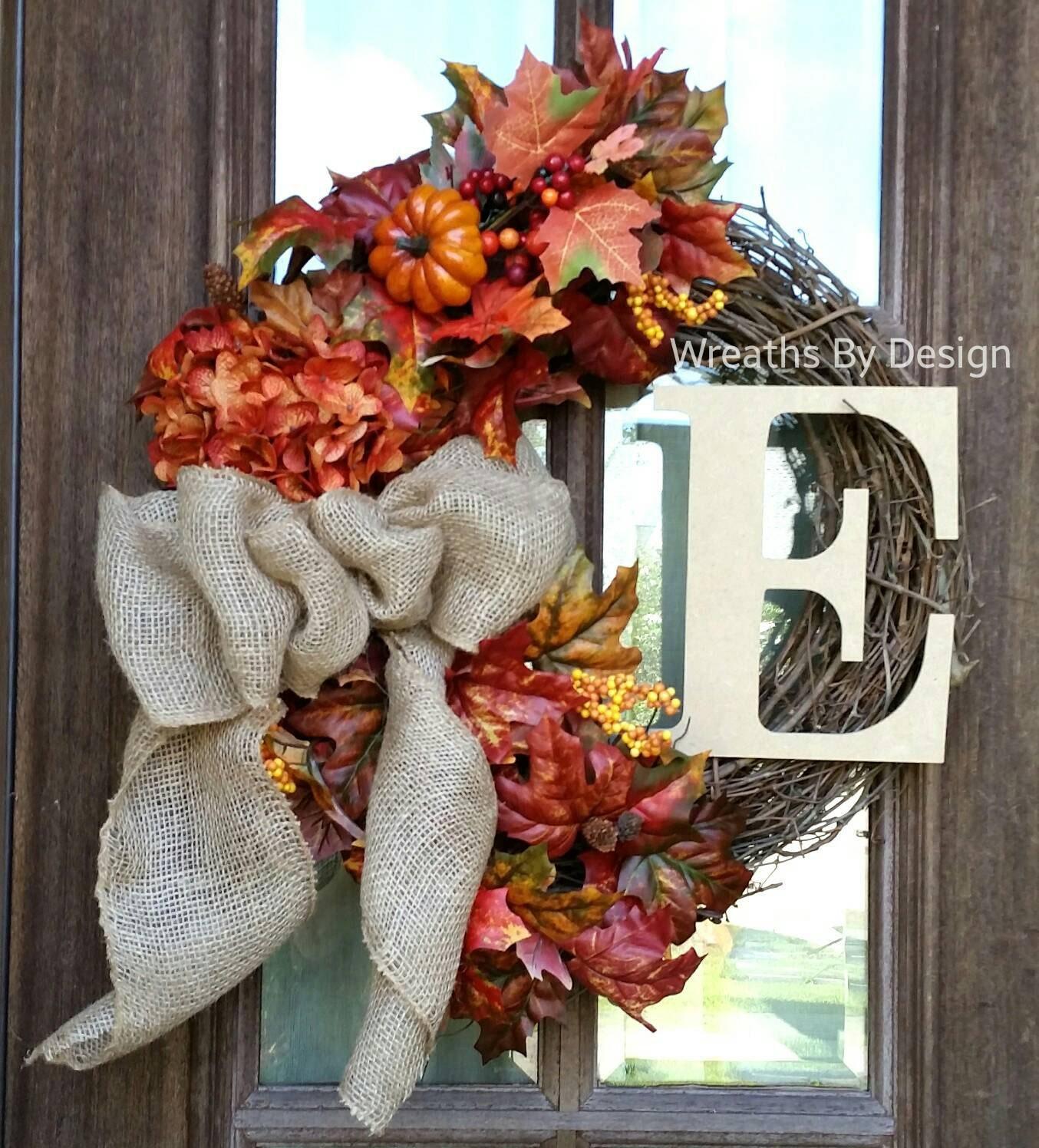 Thanksgiving Front Door: Monogram-wedding-THANksgiving Wreath-Burlap Bow-Front Door