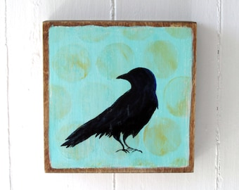 Hand Painted 6x6 Crow Art Block Yellow Turquoise and Black