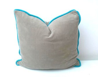"Terry Taupe Throw Pillow, Beige Cushion 18"" by 18"" , Modern Home Decor"