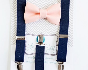 Boys Navy Suspenders Peach Bow Tie, Boys To Adult Bow Tie and Suspenders, Wedding Bow Tie, Baby Boys Bow Tie, Wedding Gift, Boys Clothes